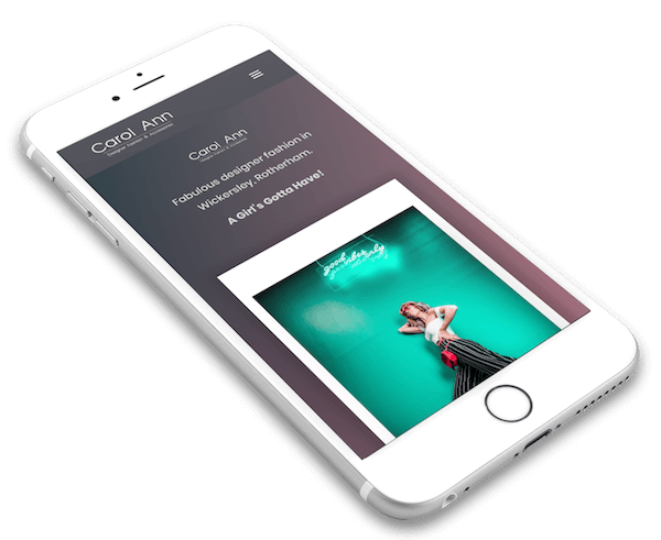 iPhone 7 showing Carol Ann Rotherham website designed by DCX Design