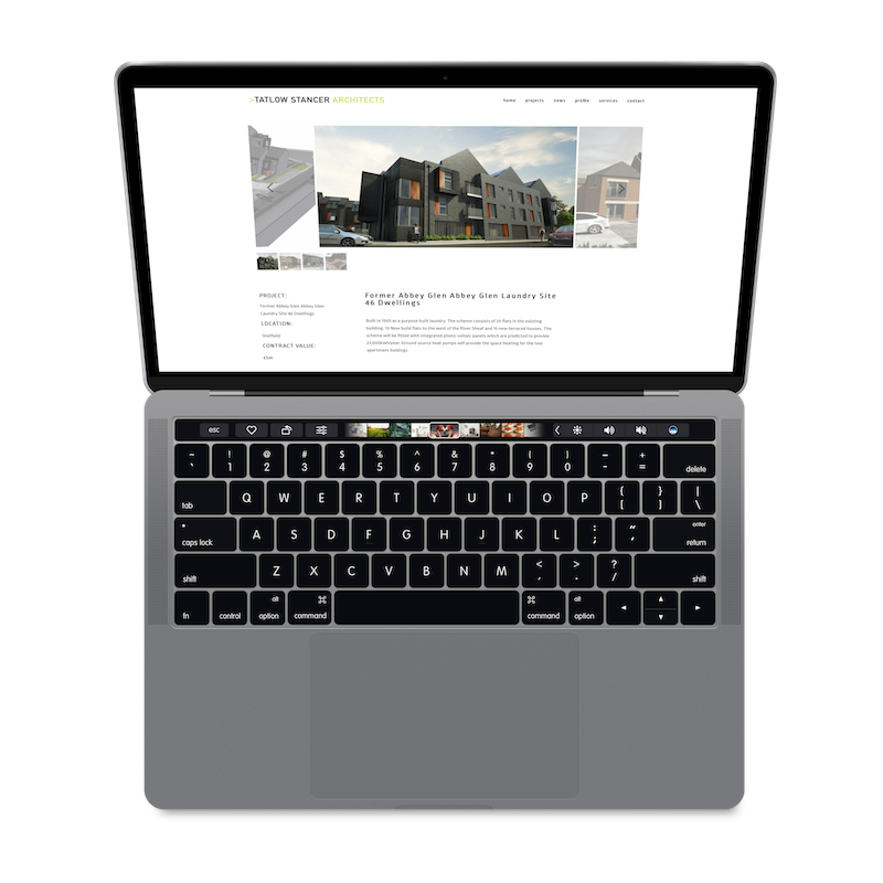 Macbook showing Tatlow stancer Sheffield website designed by DCX Design